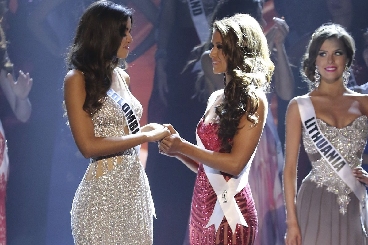 All the strange glorious and wtf moments from miss universe 2015 vox miami fl january 25 miss colombia paulina vega and miss usa nia sanchez onstage during the 63rd annual miss universe pageant at florida international publicscrutiny Choice Image