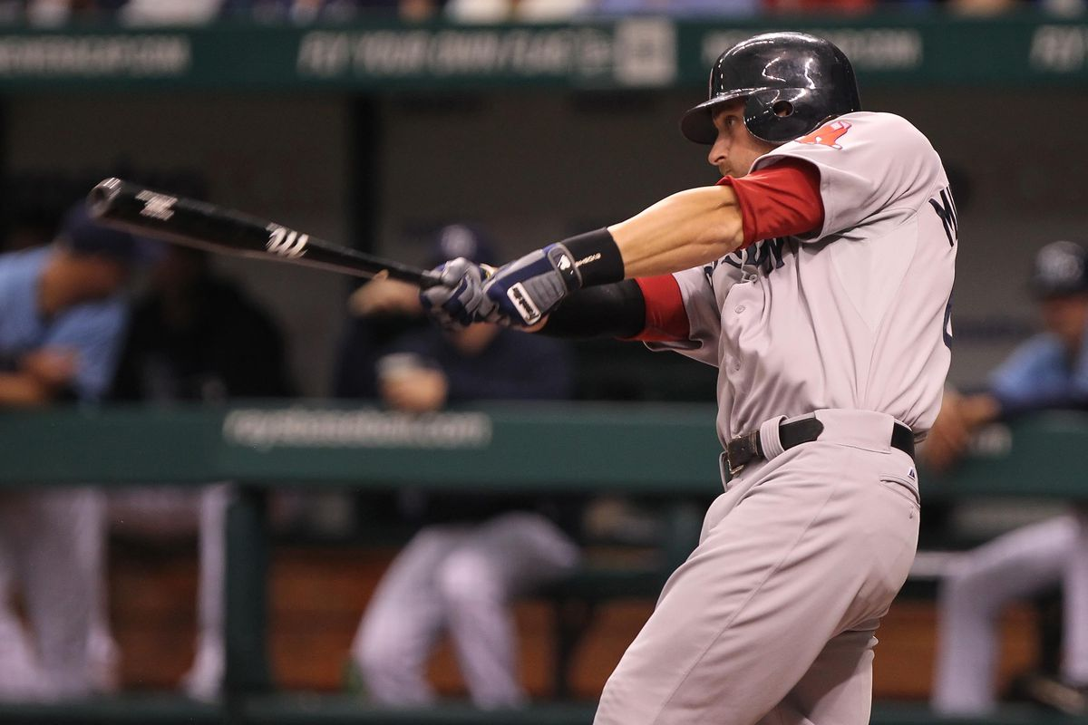 July 15, 2012; St. Petersburg, FL, USA; Boston Red Sox third baseman Will Middlebrooks (64) hits a single in the second inning against the Tampa Bay Rays at Tropicana Field. Mandatory Credit: Kim Klement-US PRESSWIRE