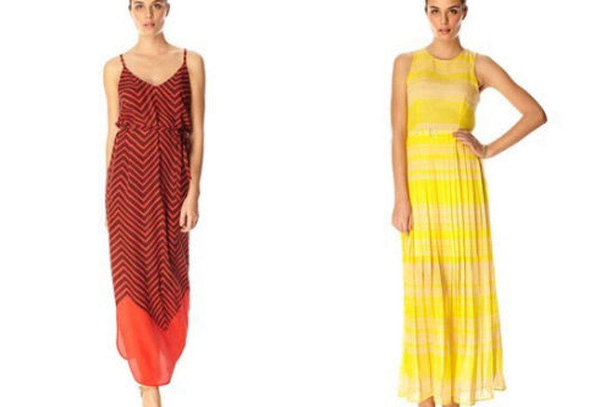 """<a href=""""http://usa.frenchconnection.com/product/Woman+New+In/71NO7/Ziggy+Silk+Maxi+Dress.htm"""">Ziggy silk maxi</a>, $173.60 (was $248) and <a href=""""http://usa.frenchconnection.com/product/Woman+New+In/71NF7/London+Rock+Stripe+Maxi+Dress.htm"""">London"""