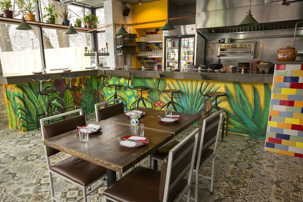 An open kitchen separated from a dining room by a bar painted with green plants