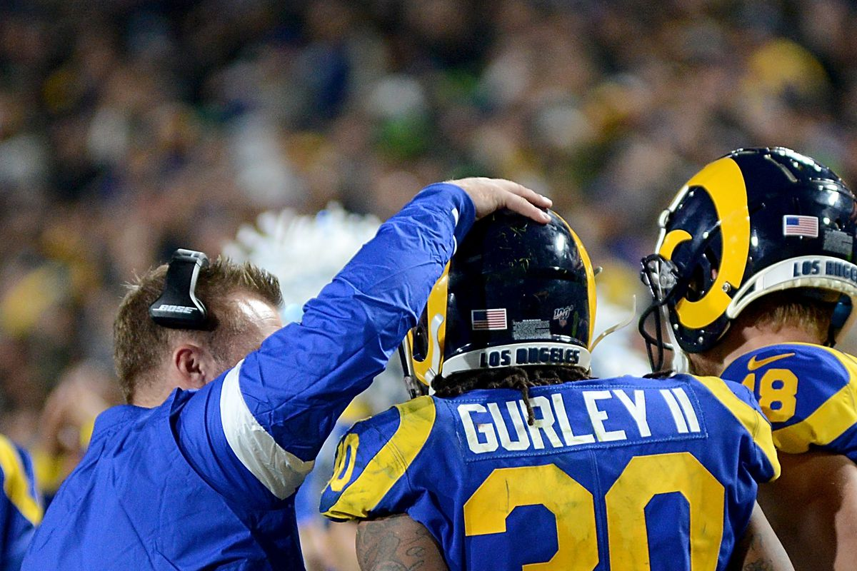 Los Angeles Rams HC Sean McVay celebrates a touchdown with RB Todd Gurley against the Seattle Seahawks in Week 14, Dec. 8, 2019.