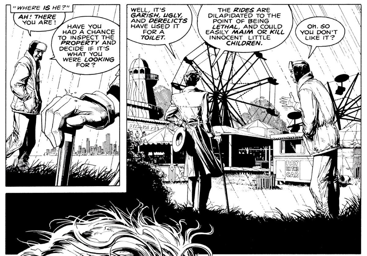 The Joker inspects an abandoned carnival with a realtor in The Killing Joke, DC Comics 1988.