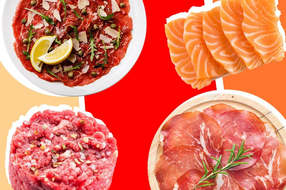 A collage of plates of crudo, sashimi, tartare, and carpaccio