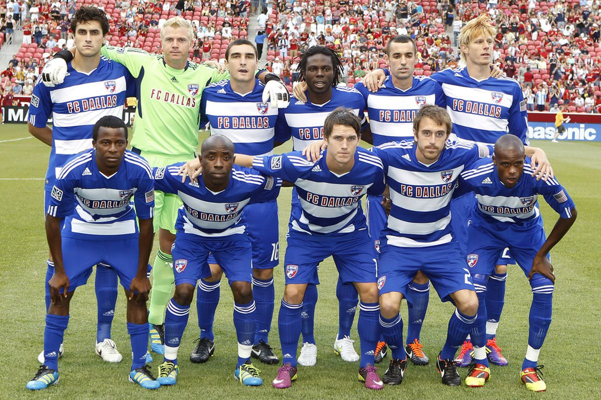 SANDY, UT - JULY 9: Players of FC Dallas pose for a team picture before a game against Real Salt Lake at an MLS soccer game July 9, 2011 at Rio Tinto Stadium in Sandy, Utah. Real Salt Lake beat FC Dallas 2-0. (Photo by George Frey/Getty Images)