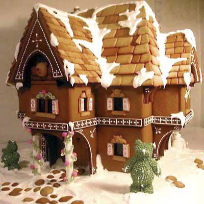 Gingerbread house in the shape of a Swiss Chalet.