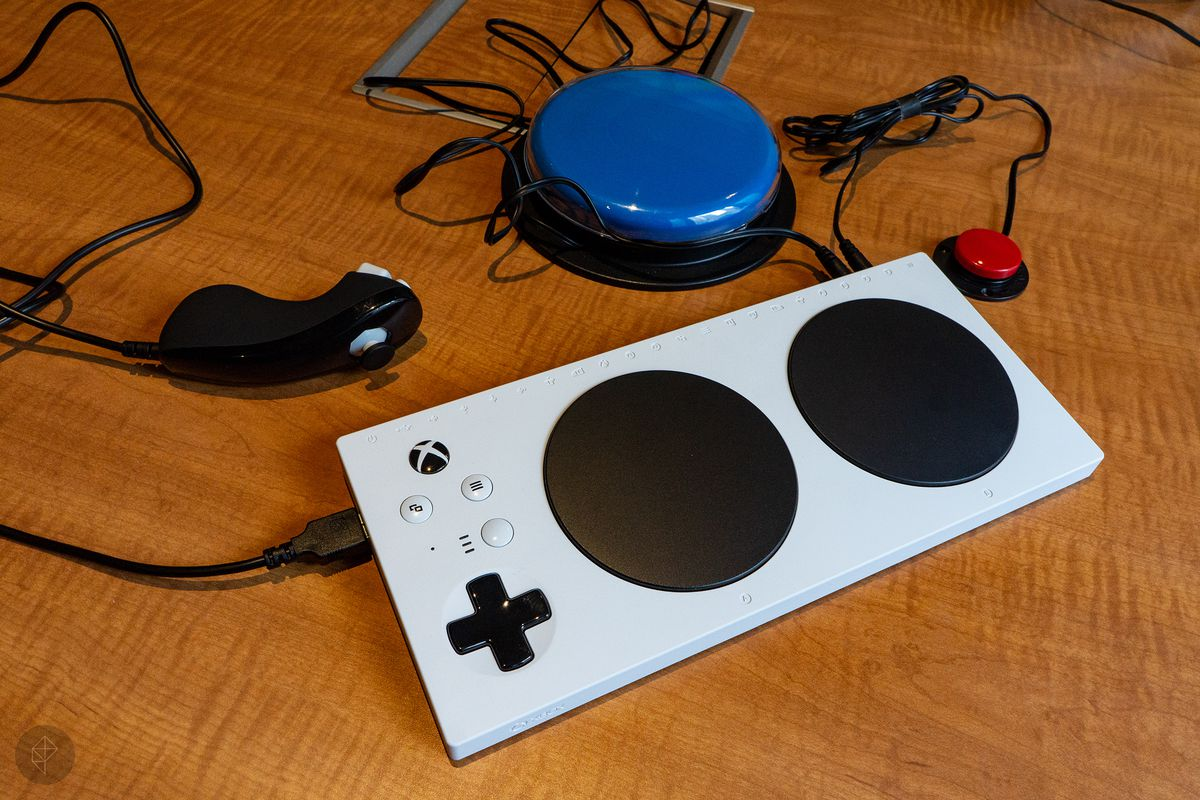 Xbox Adaptive Controller - nunchuk, big blue button and small red button plugged in