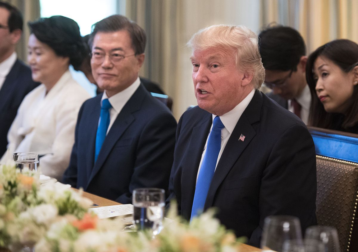 President Donald Trump and South Korean President  Moon Jae-in Have Dinner At The White House