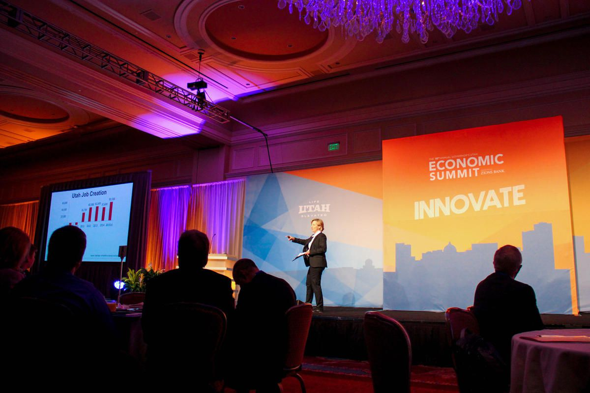 Natalie Gochnour, associate dean in the David Eccles School of Business and director of the Kem C. Gardner Policy Institute, speaks at the 2016 Utah Economic Summit.