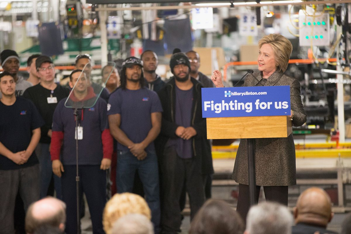 Hillary Clinton Delivers Policy Speech On Jobs And The Economy In Detroit
