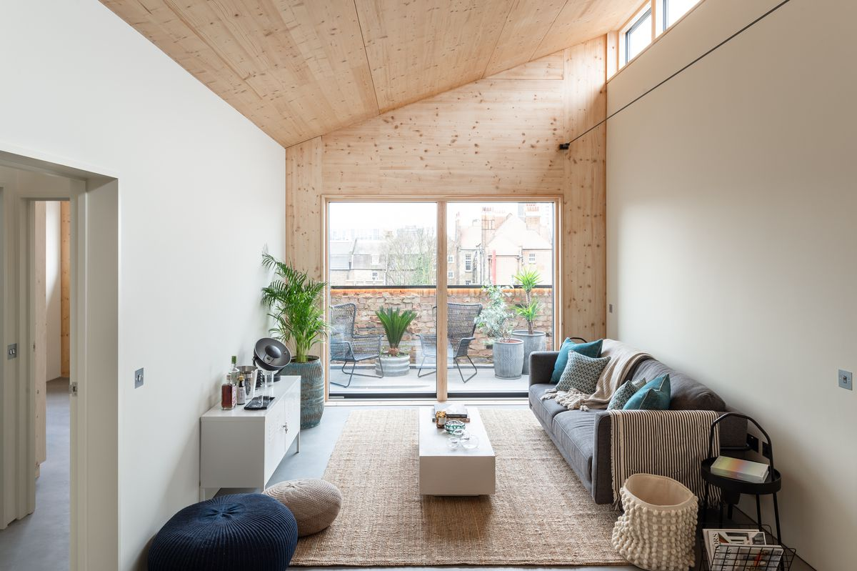 Living room with slanted roof and glass wall leading to a patio.