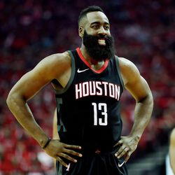 Houston Rockets guard James Harden (13) smiles as he steps to the line for a free-throw as the Utah Jazz and the Houston Rockets play Game 1 of the Western Conference semifinals in Houston on Sunday, April 29, 2018.