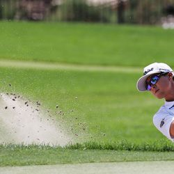 TK Kim hits out of the bunker during the final round of the Utah Open in Provo on Sunday, Aug. 22, 2021. Kim finished second.