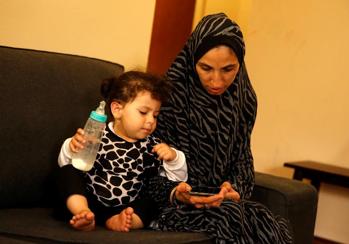 A Muslim woman and her child