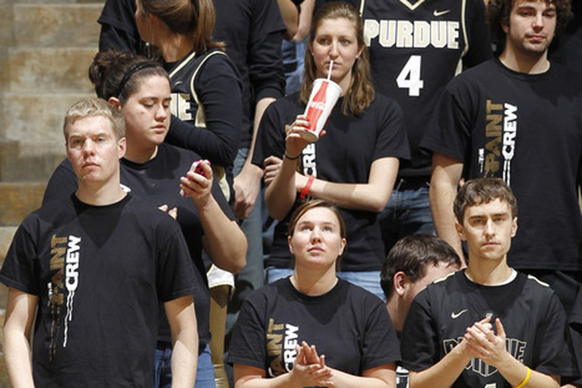 Sad Boilermaker fans.  Hopefully to be seen this evening.   (Photo by Joe Robbins/Getty Images)