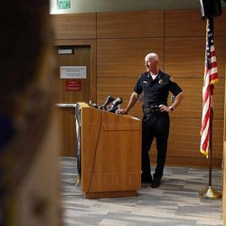 Salt Lake Police Chief Chris Burbank holds a press conference, Friday, June 27, 2014, concerning a case in which an officer shot a dog while searching for a missing child.