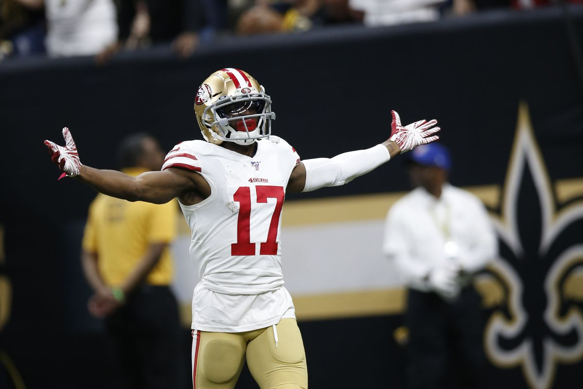 Emmanuel Sanders of the San Francisco 49ers celebrates after making a 75-yards touchdown reception during the game against the New Orleans Saints at the Mercedes-Benz Superdome on December 8, 2019 in New Orleans, Louisiana.