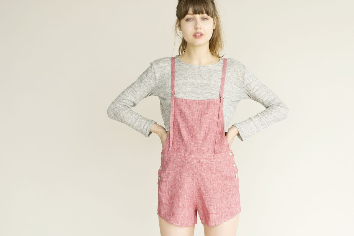 """Lily Ashwell 'Jo' Dungaree Shorts in Red Stitch, <a href=""""http://lilyashwell.com/clothes/dungarees/jo-dungaree-shorts-red-stitch.html"""" target=""""_blank"""">$175</a>"""