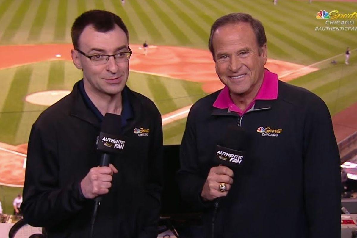 White Sox announcers Jason Benetti and Steve Stone.