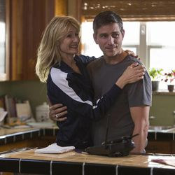 """Laura Dern (left) and Jim Caviezel in """"When the Game Stands Tall."""""""