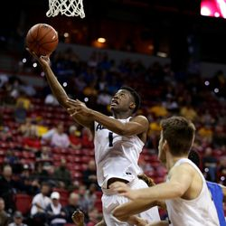 Utah State Aggies Koby McEwen shoots against the San Jose State Spartans at the Mountain West Men's Basketball Championships at the Thomas & Mack Center, Las Vegas, Nevada on Wednesday, March 8, 2017.