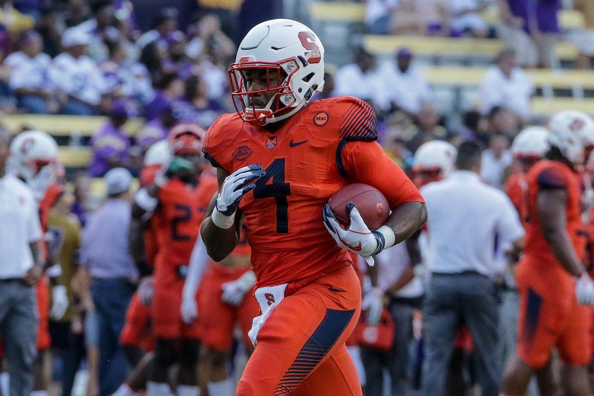 online store 659e6 42599 Syracuse wearing white helmets, orange jerseys and pants vs ...