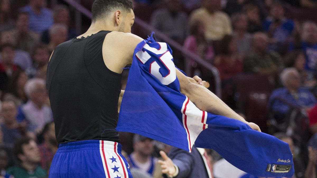Ben Simmons of the Philadelphia 76ers takes off his ripped jersey November  3 955d3fa58