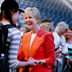 Sister Jean B. Bingham, LDS Church Relief Society general president, speaks with attendees of the BYU Women's Conference in the Marriott Center at BYU in Provo on Friday, May 5, 2017.