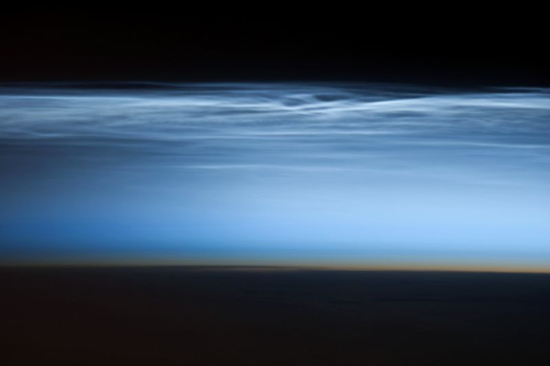 Photo of noctilucent clouds taken from ISS on January 5, 2013.