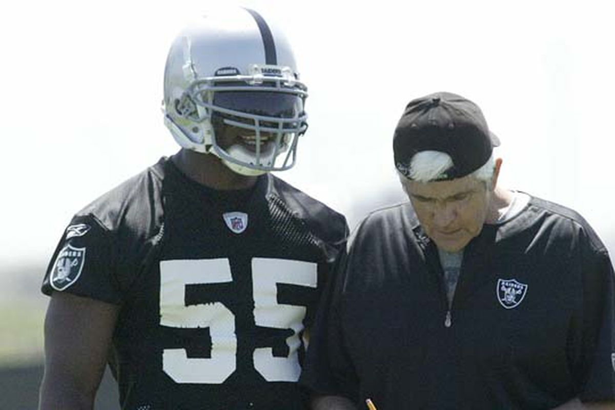 Rolando McClain and Raiders Defensive Coordinator John Marshall at Oakland's mini camp earlier this month.