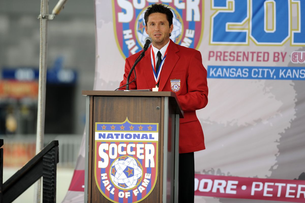 Joe-Max Moore at his National Soccer Hall of Fame induction in 2013.