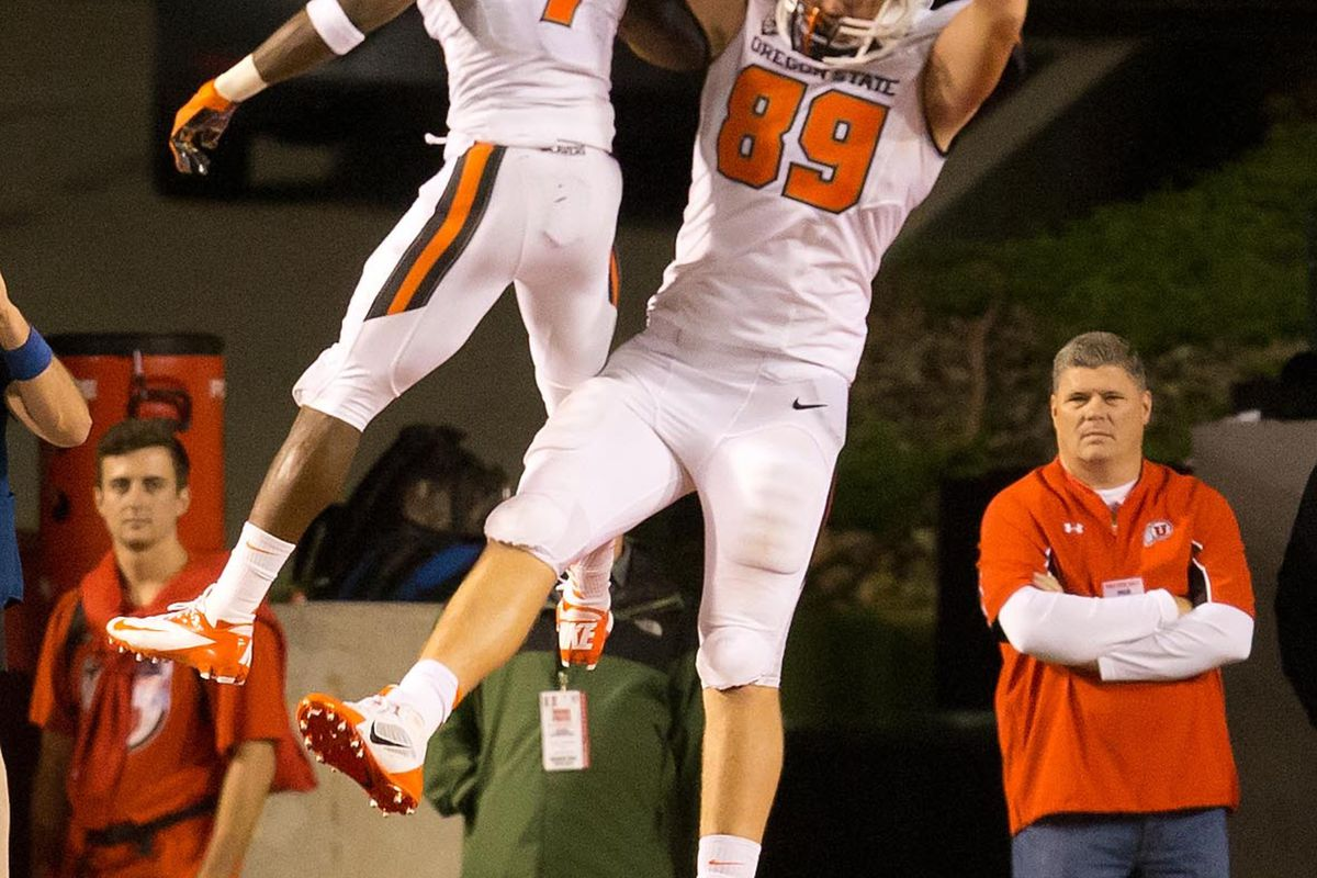 Oregon St.'s Brandin Cooks and Connor Hamlett hope to be celebrating late into the night again tonight in Pullman.