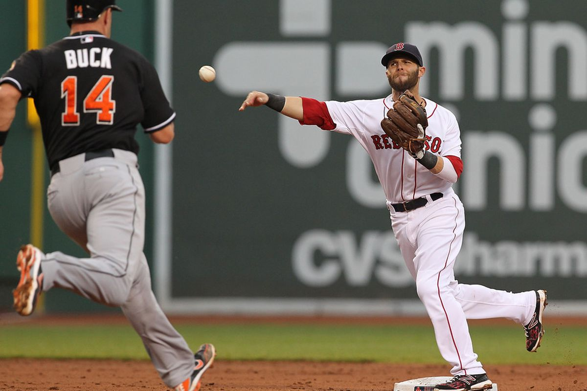 BOSTON, MA: Dustin Pedroia #15 of the Boston Red Sox turns a double play as John Buck #14 of the Miami Marlins is out at second during interleague play at Fenway Park in Boston, Massachusetts.  (Photo by Jim Rogash/Getty Images)