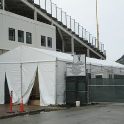 3:33 p.m. Special event (Race to Wrigley) tent still set up on Sheffield -