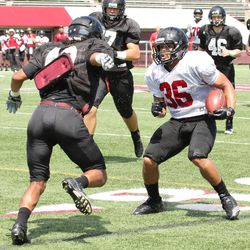 """In this photo taken Aug. 15, 2012, Massachusetts running back Alan Williams (36) tries to avoid LB John Robinson, left, during NCAA college football media day at McGuirk Stadium on the campus in Amherst, Mass.  Five programs """""""" Georgia State, Texas-San Antonio, South Alabama, Massachusetts and Texas State """""""" are at various stages in the two-year transition process to the top-tier Football Bowl Subdivision this season."""