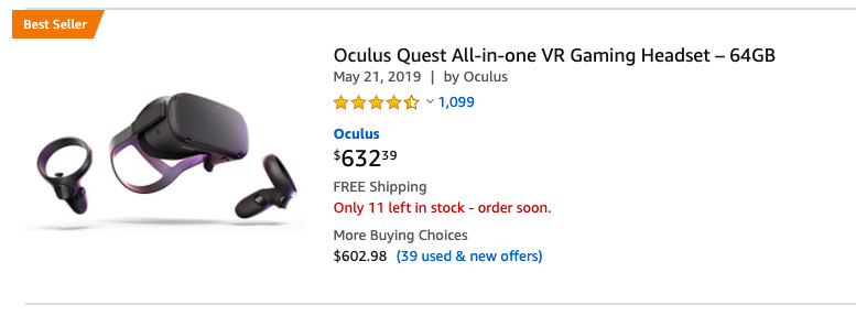 An Oculus Quest selling $632.39 on Amazon