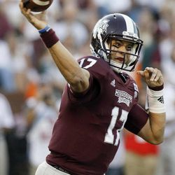 Mississippi State quarterback Tyler Russell (17) throws a first-quarter pass against South Alabama during their NCAA college football game in Starkville, Miss., Saturday, Sept. 22, 2012.