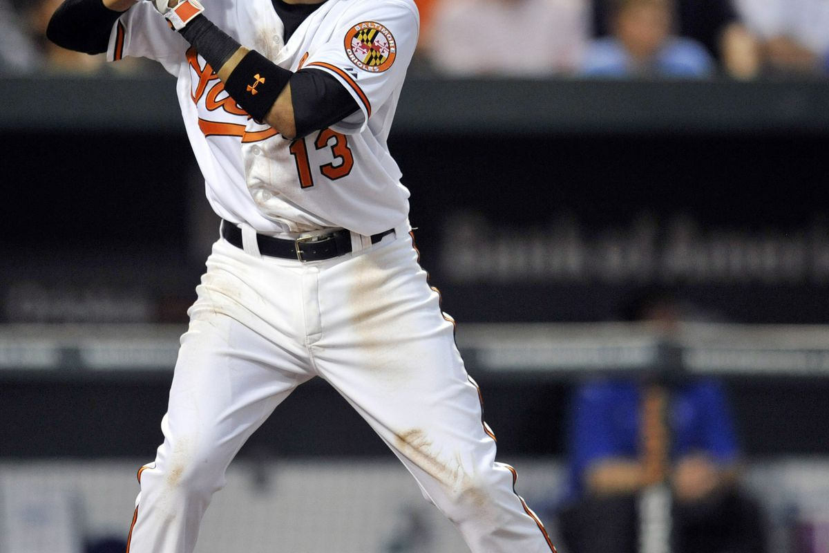 Baltimore, MD, USA; Baltimore Orioles third baseman Manny Machado (13) at bat in the second inning as he makes his major league debut against the Kansas City Royals at Oriole Park at Camden Yards. Mandatory Credit: Joy R. Absalon-US PRESSWIRE