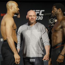David Branch and Jared Cannonier square off at UFC 230 weigh-ins.