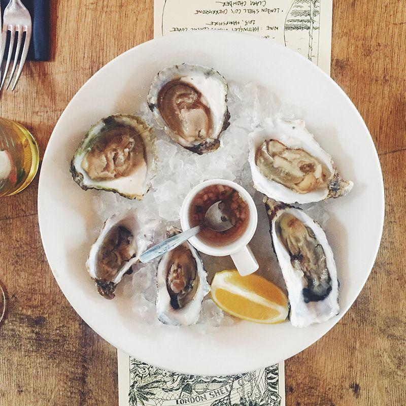 Dorset estuary rock oysters at London Shell Co., one of London's best waterside restaurants