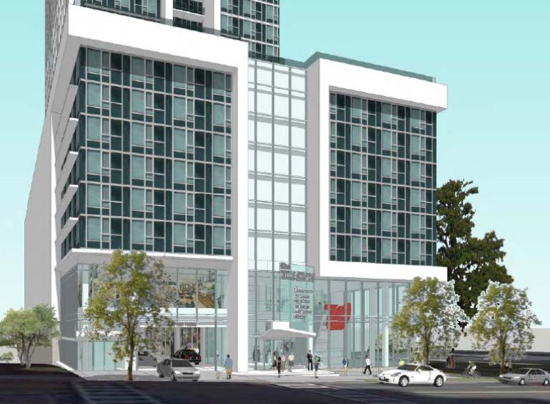 An early rendering of the proposal, with glass and white columns.