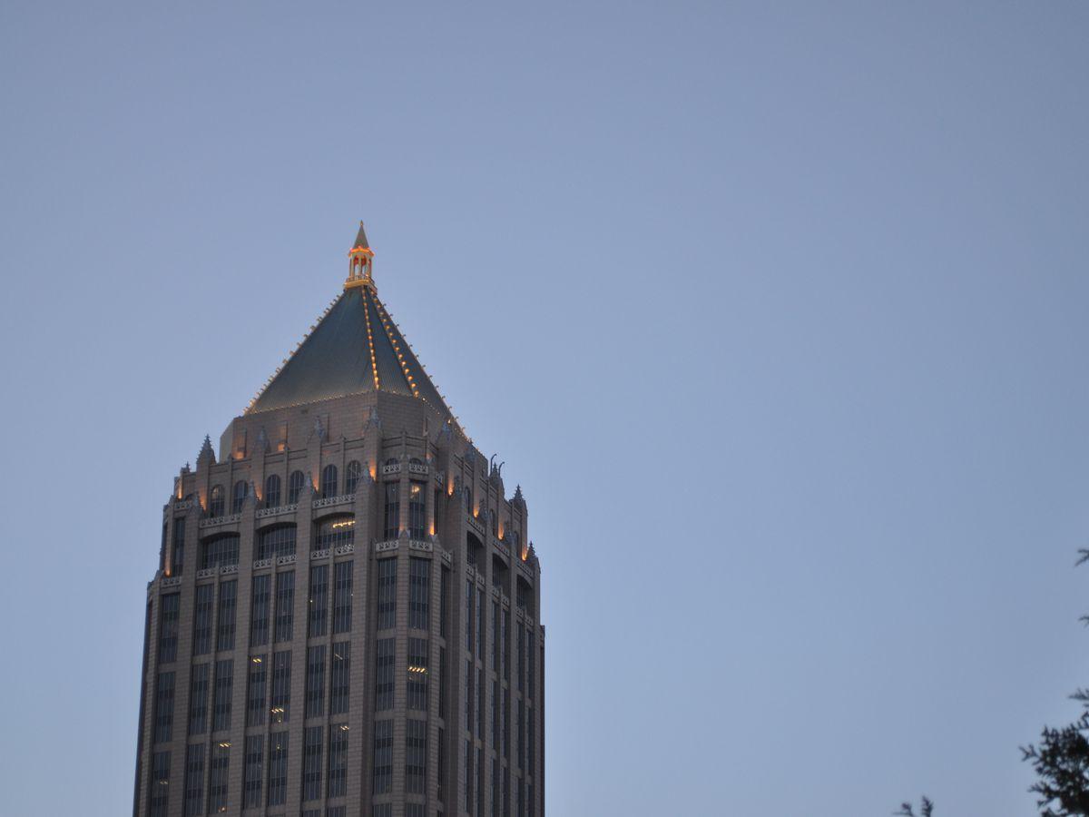 The top of a skyscraper.
