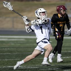 Corner Canyon's Peyton Call takes a shot on goal during a boys lacrosse game against Viewmont in the Battle at the Beet boys lacrosse tournament at Jordan High School in Sandy on Friday, March 12, 2021.