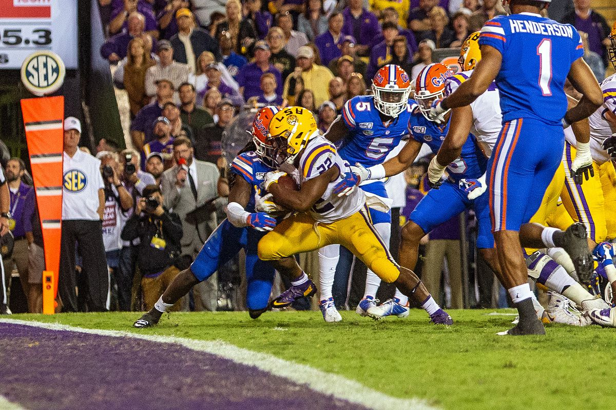 LSU Tigers running back Clyde Edwards-Helaire scores a touchdown during a game between the Florida Gators and the LSU Tigers on October 12, 2019, at Tiger Stadium in Baton Rouge, Louisiana.