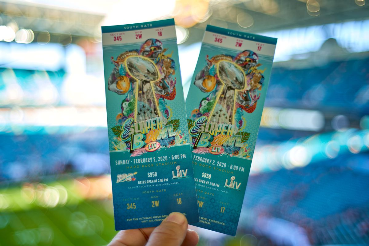 A detail view of the official Super Bowl ticket's is seen held by a fan in game action during the Super Bowl LIV game between the Kansas City Chiefs and the San Francisco 49ers on February 2, 2020 at Hard Rock Stadium, in Miami Gardens, FL.