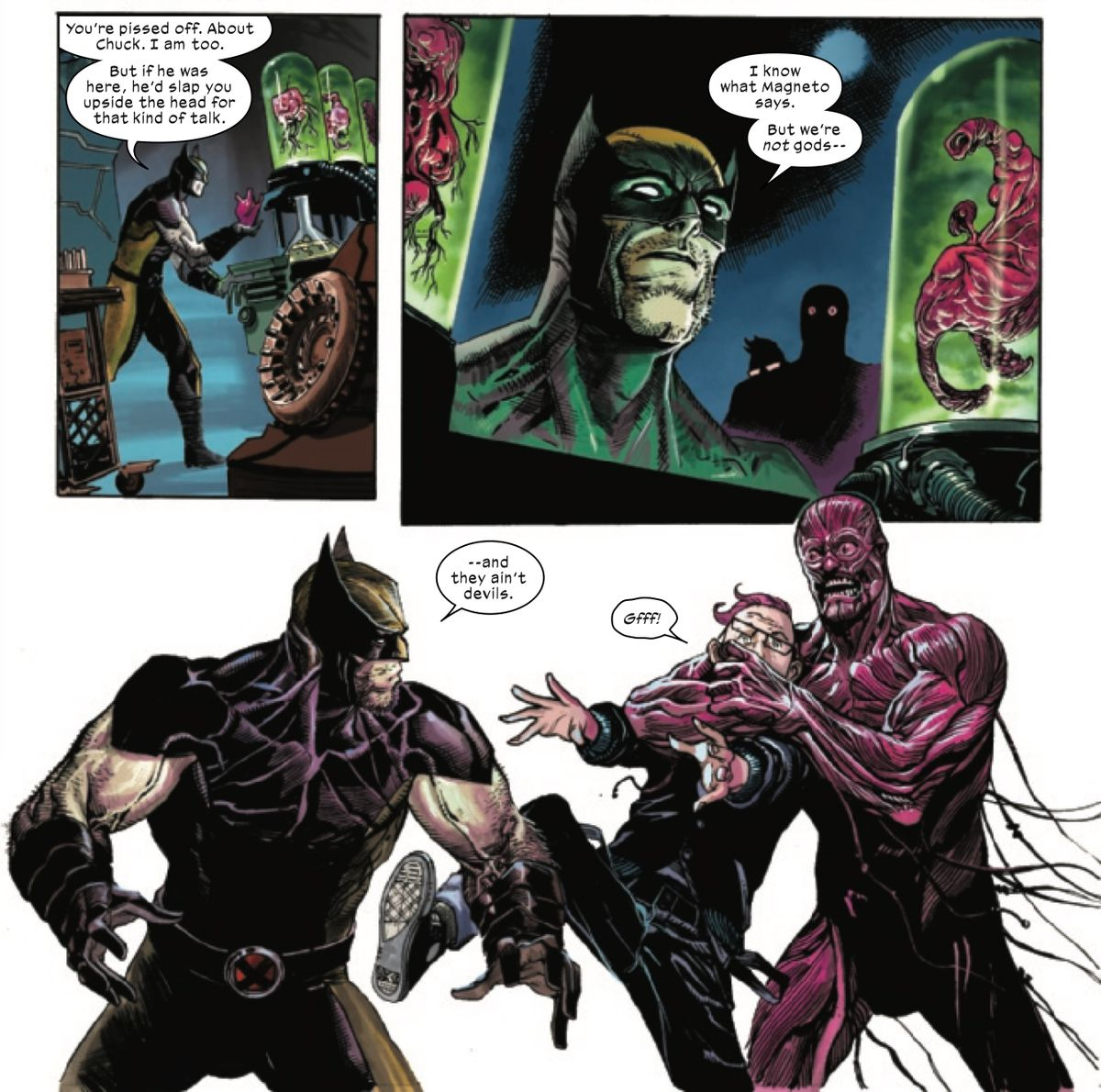 """""""We we're not gods, and they ain't devils,"""" Wolverine says, just as Kid Omega gets jumped by a half-baked supersoldier in X-Force #2, Marvel Comics (2019)."""