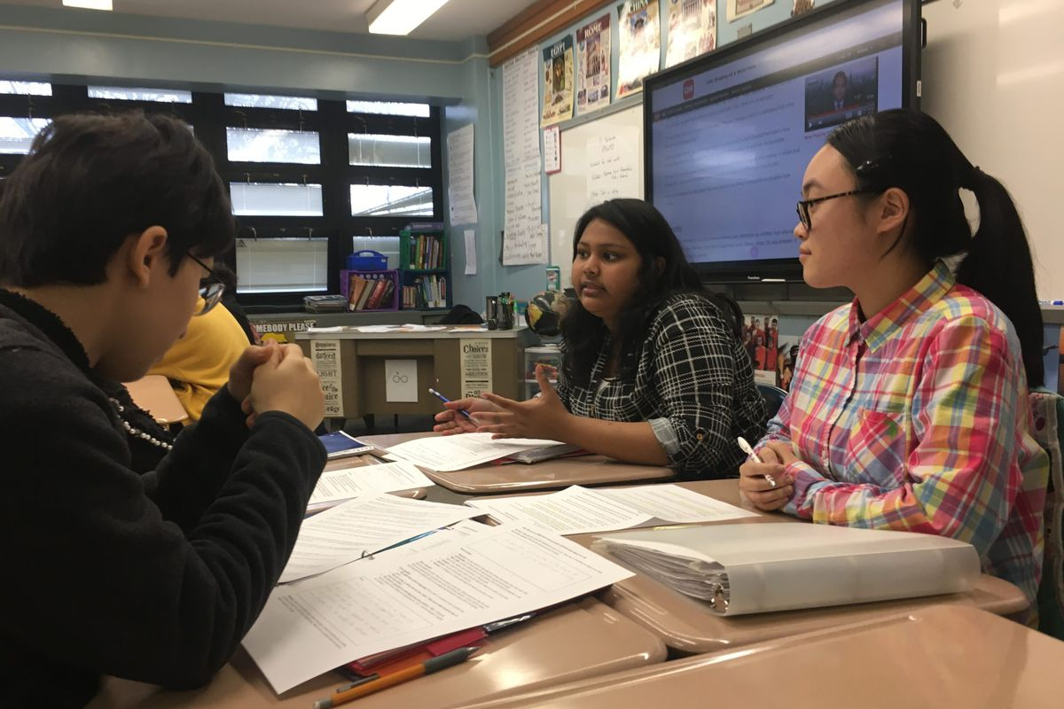 Students at Franklin Delano Roosevelt High School in Borough Park discussed discrimination on Friday.