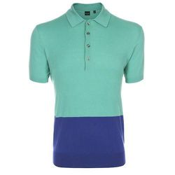 """<strong>PS Paul Smith</strong> Colour Block Polo Shirt in Turquoise, <a href=""""http://www.paulsmith.co.uk/us-en/shop/mens/ps-by-paul-smith/polo-shirts/men-s-slim-fit-turquoise-colour-block-polo-shirt.html"""">$250</a>"""