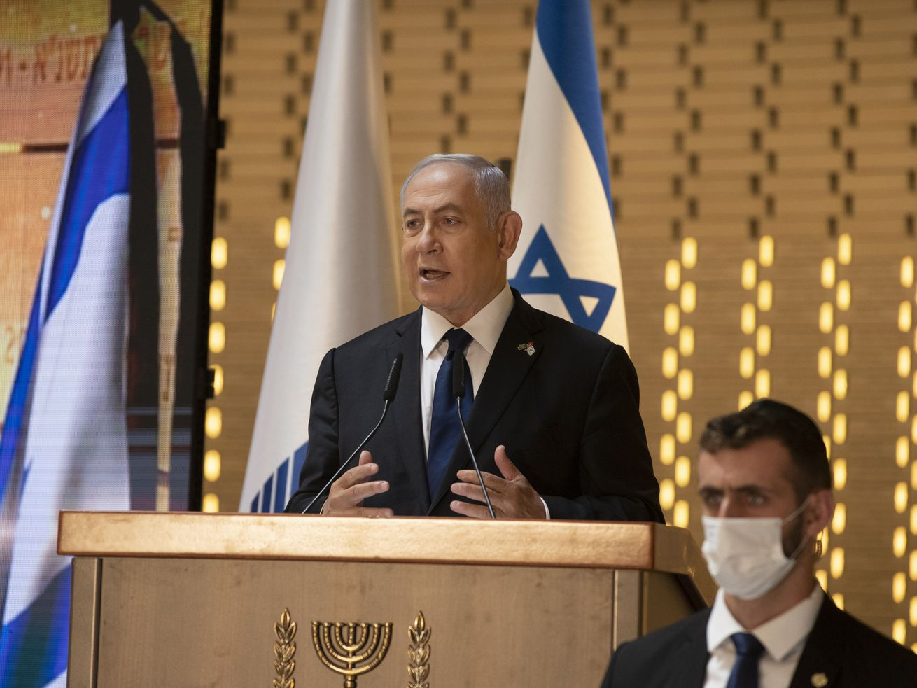 In this Wednesday, April 14, 2021 file photo, Israeli Prime Minister Benjamin Netanyahu speaks at a Memorial Day ceremony at the military cemetery at Mount Herzl, Jerusalem.