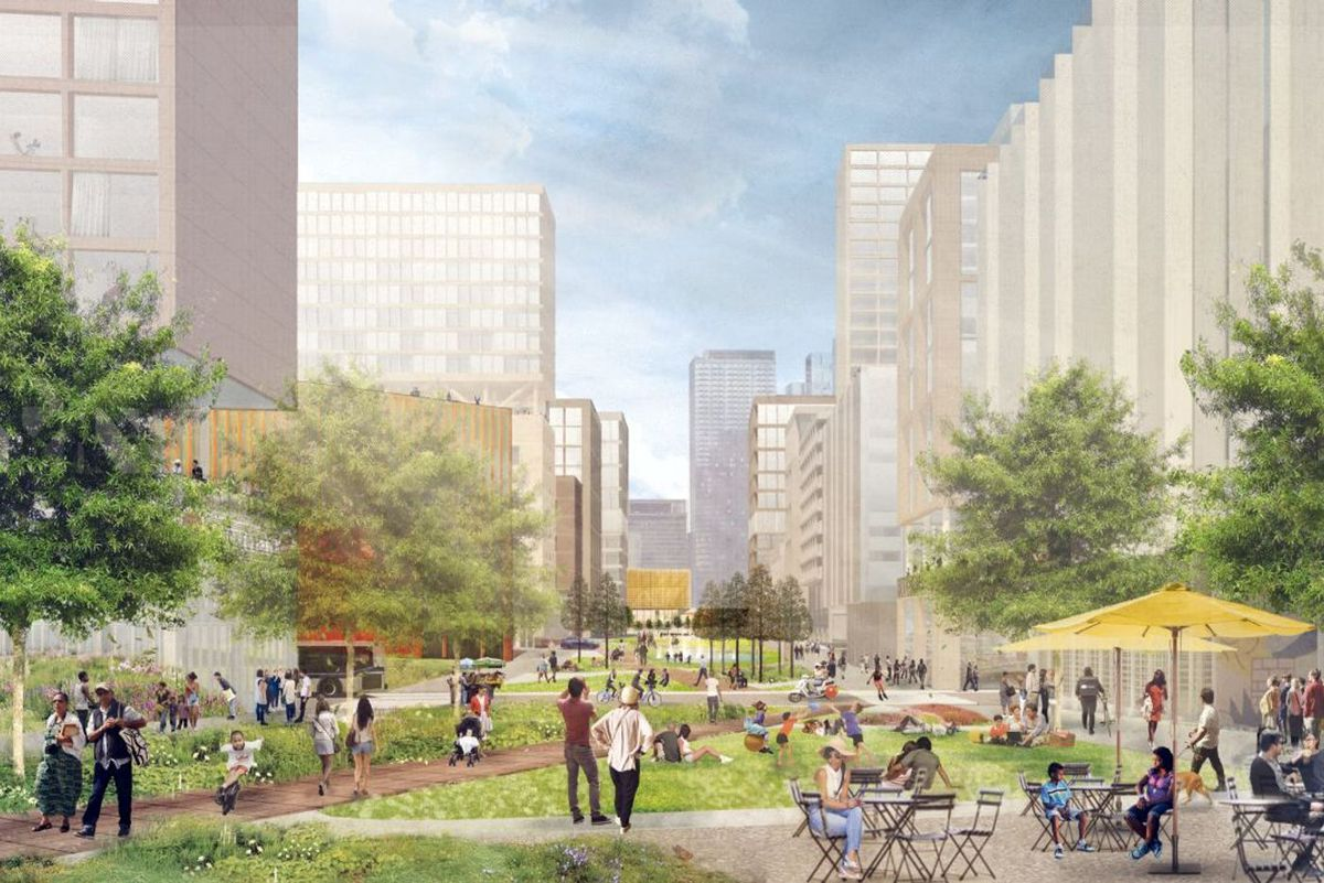 An artist's rendering of the projected Sunnyside Yard development.