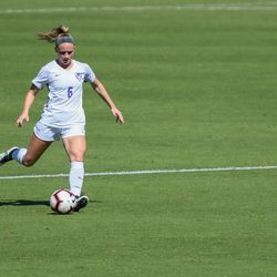 Kansas State defender Morgan Egan dribbles downfield during the Wildcats' loss to the Oklahoma Sooners on Sunday, Sept. 23, 2018, in Manhattan.